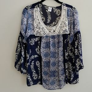 Bila Floral Top Lace Crochet 3/4 Sleeves Size XL